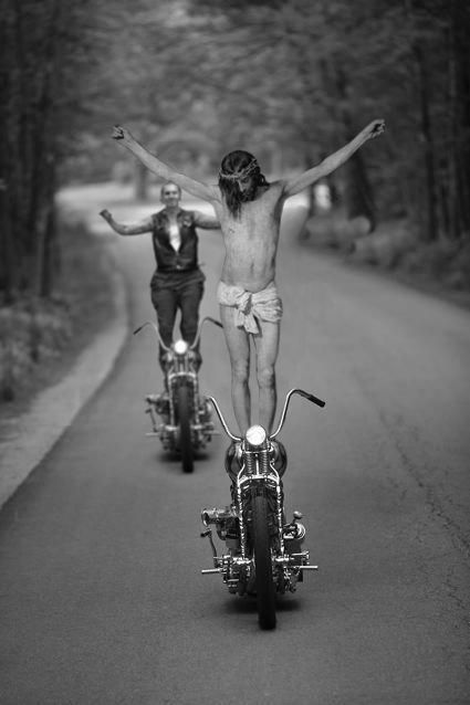 Jesus As A Motorcycle Stunt Driver Harley Bikes Motorcycle