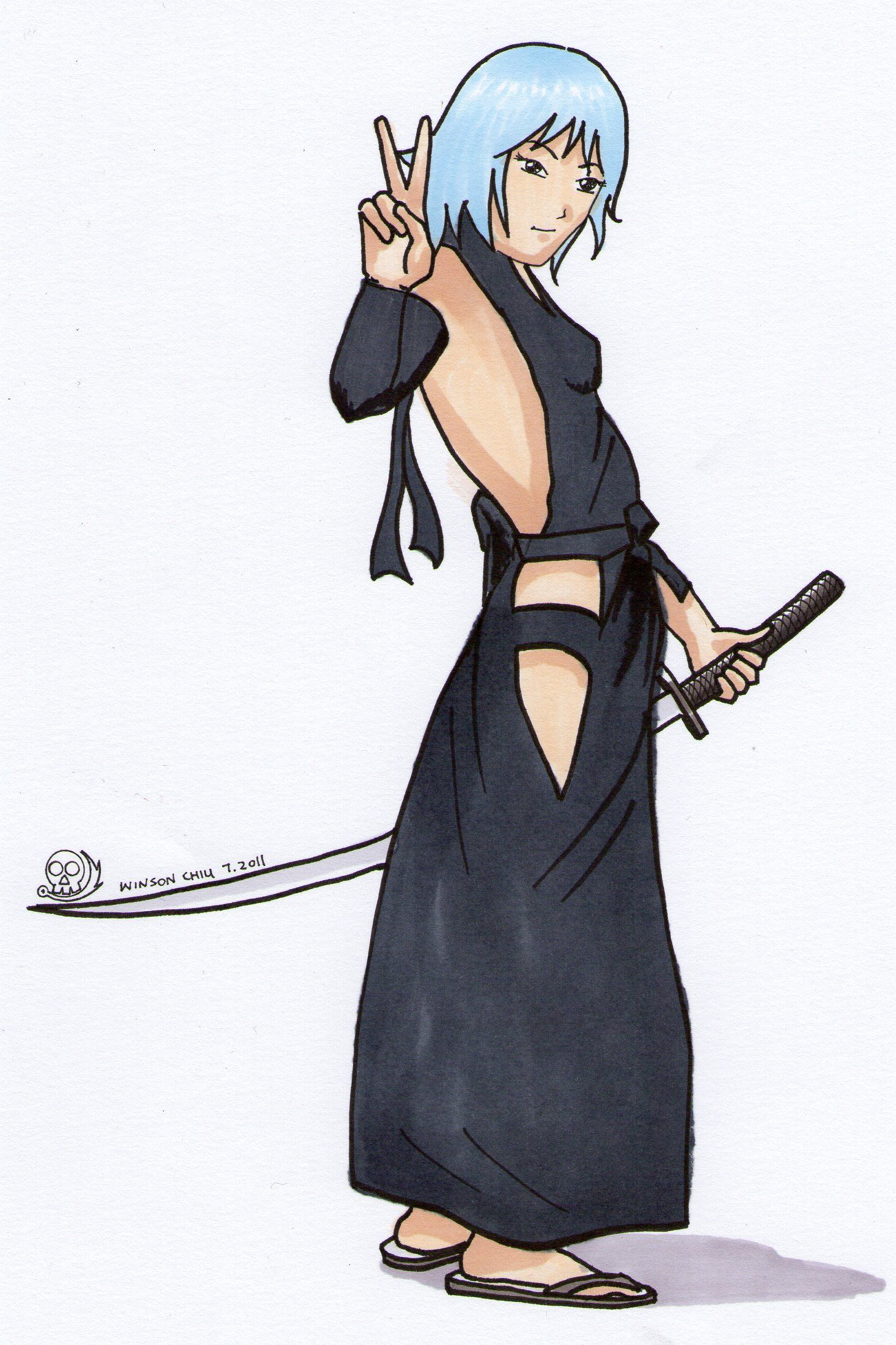 anime female ninja Manga Drawing by Winson Chiu