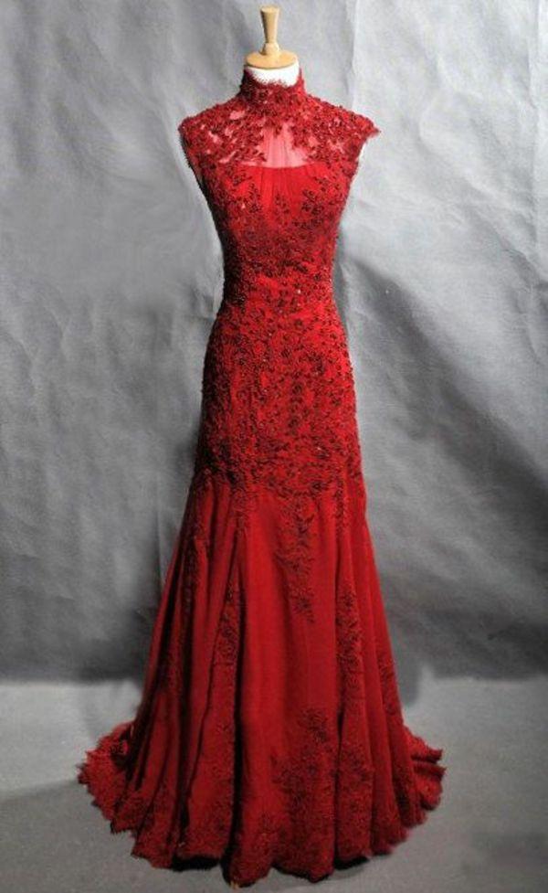 Rotes seidenkleid lang