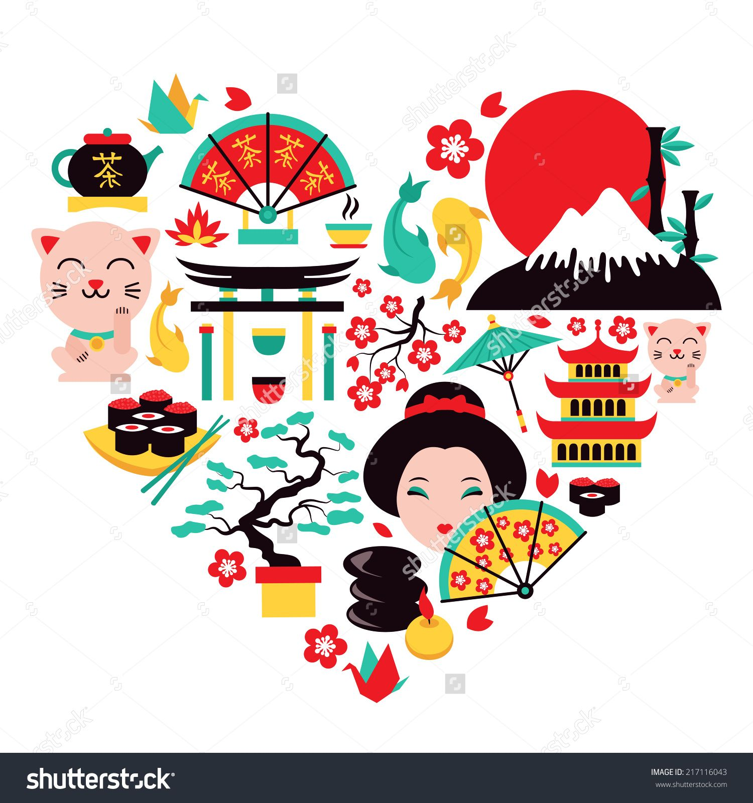 Stock vector japan symbols set in heart shape with traditional buy japan symbols heart by macrovector on graphicriver japan symbols set in heart shape with traditional food and travel icons vector illustration biocorpaavc