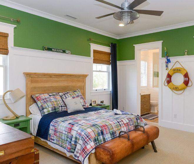 Kids Bedroom With Wainscoting And Kelly Green Walls What A Fantastic Kid S Bedroom I Love The White Kelly Green Bedrooms White Wainscoting Wainscoting Styles