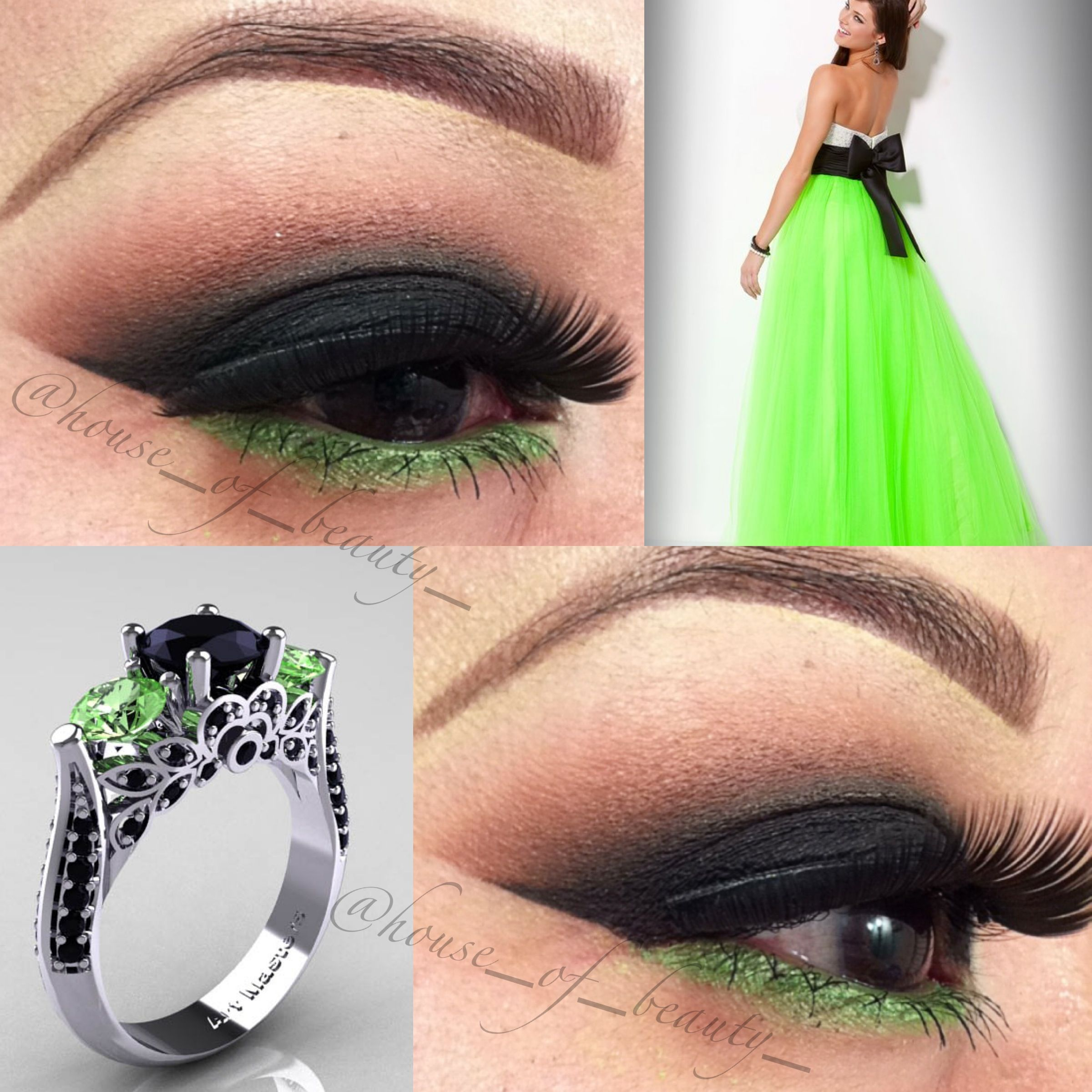 Makeup with emerald green dress  Smokey eye with pop of green Dress and ring to compliment the