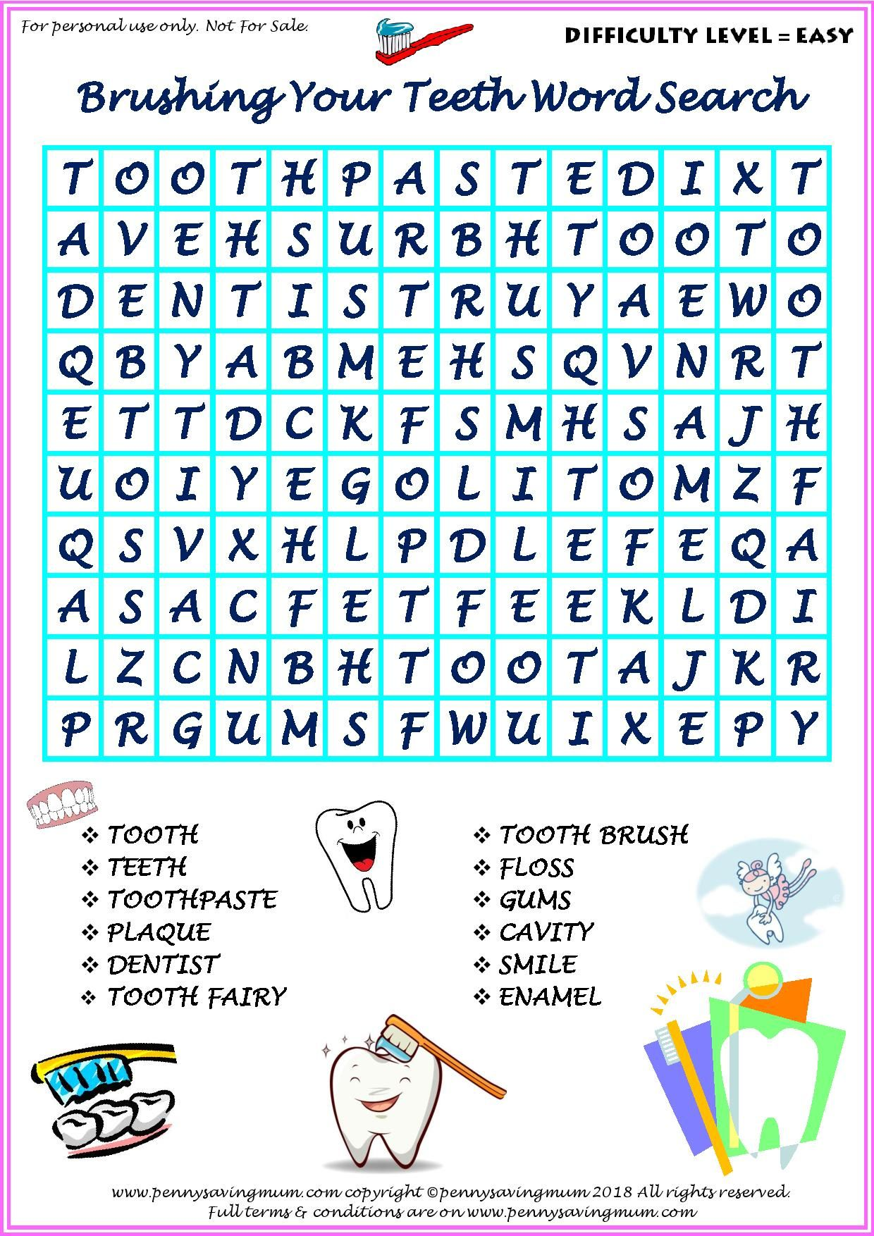 Word Search Brushing Your Teeth Easy Version
