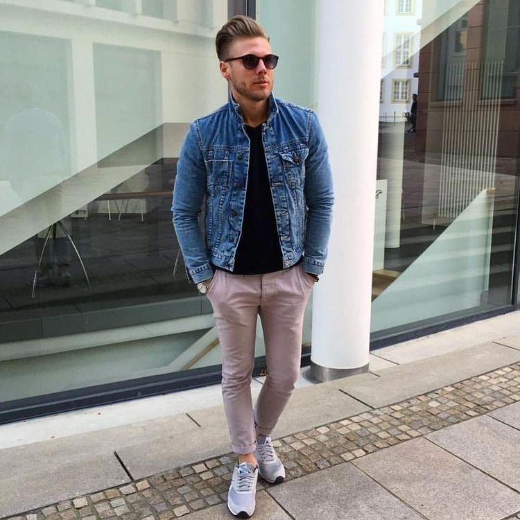 2ef0e3d56f Denim jacket with khaki pants black shirt with sneakers and sunglasses   denimjacket  streetstyle  streetwear  casualstyle  casualoutfits   mensfashion ...