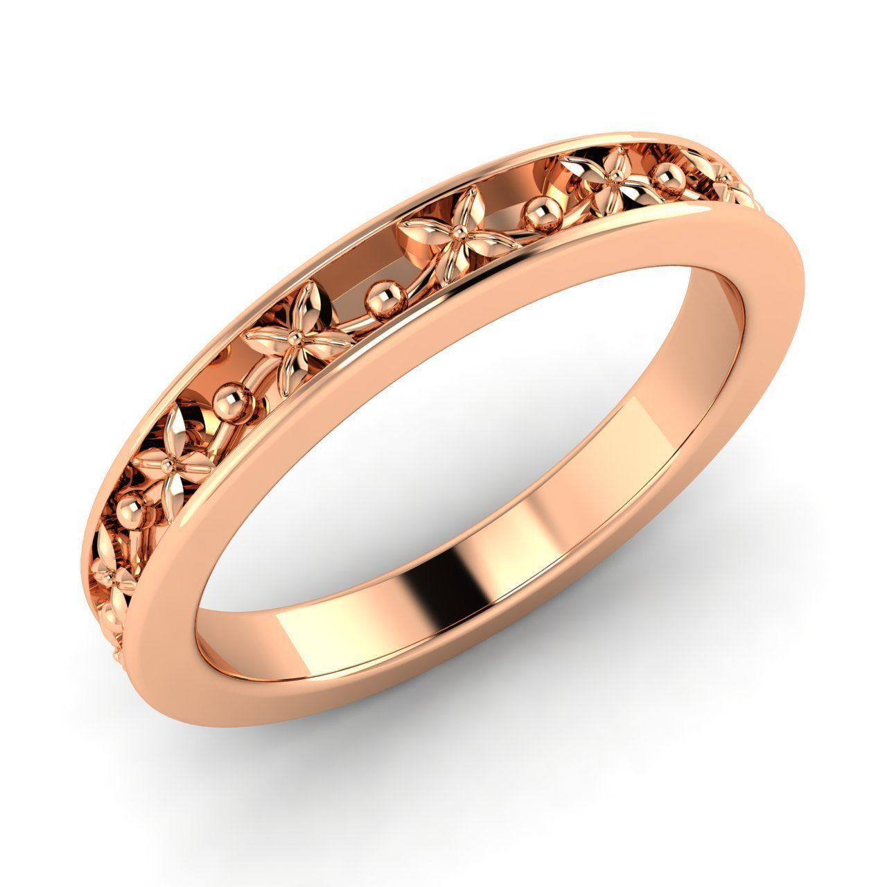 14k Rose Gold Wedding Anniversary Band Ring For Women's Bands Without Stones: Wedding Rings Without Stones At Reisefeber.org