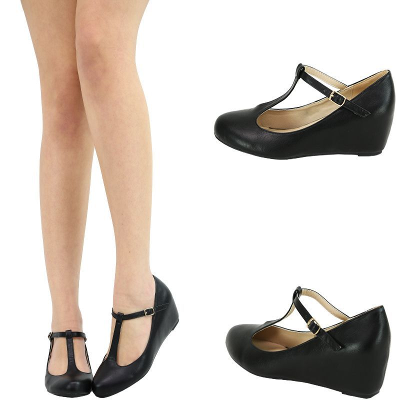 3916a48e2f8 Black round toe mary jane ankle strap hidden low med wedge heel ballet flat  pump