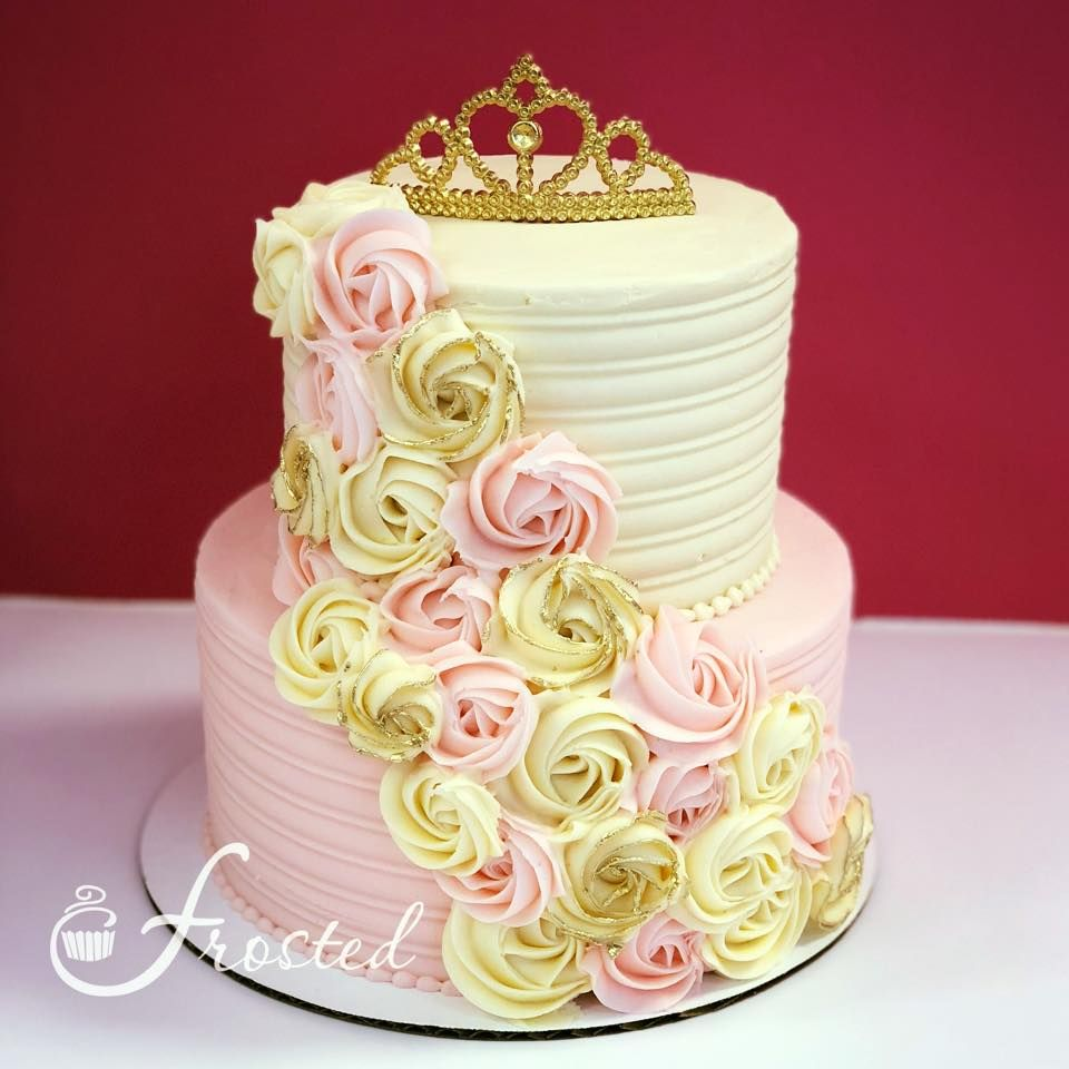 A light pink and ivory rosette baby shower cake fit for a sweet ...