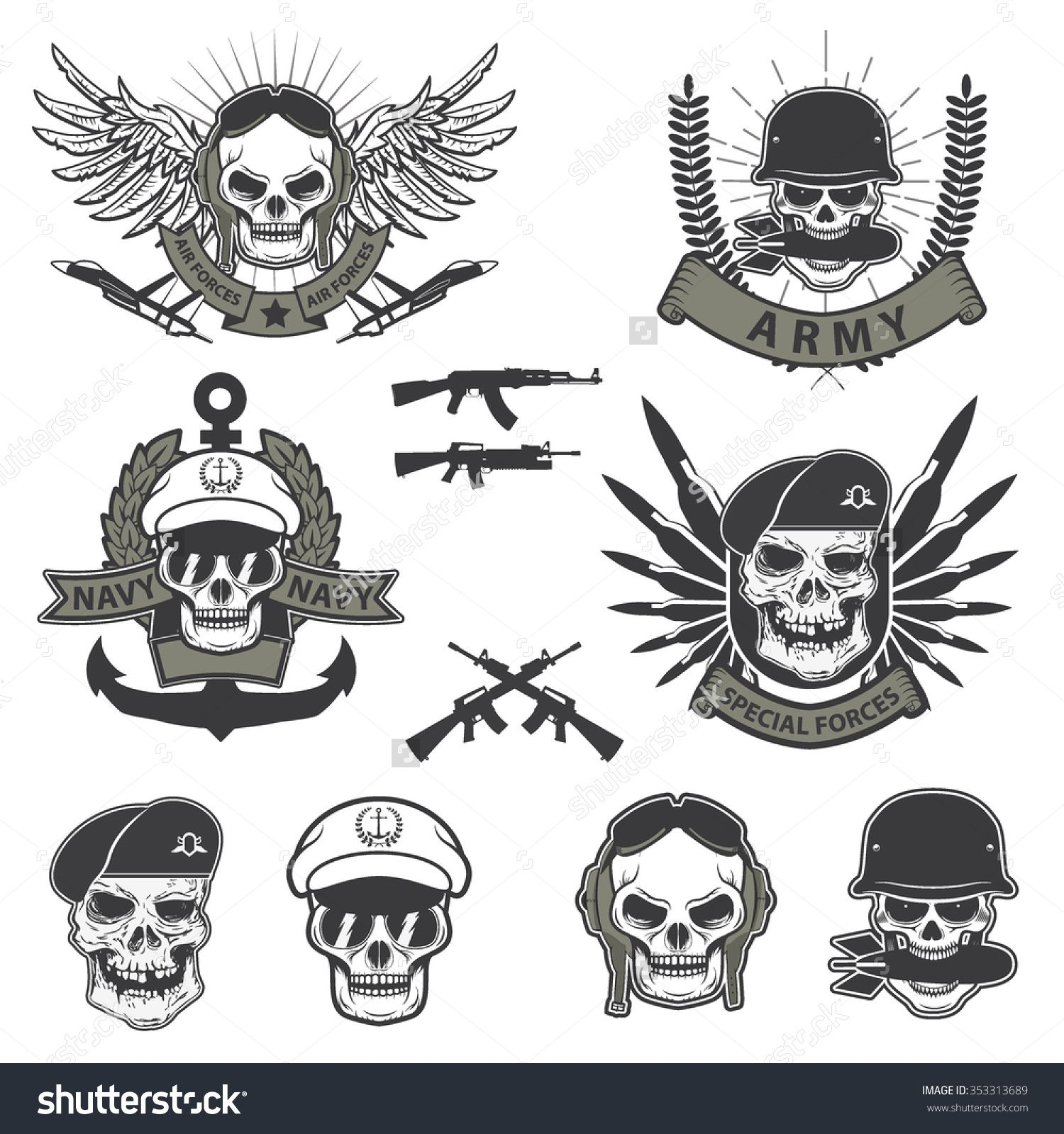 Military emblem. Human skull in a helmet with a grenade in ...