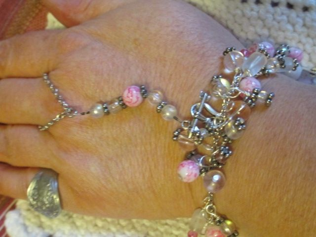 """silver chain charm bracelet with optional ring chain that can be worn 2 ways glass beads; product # B079 7 1/2 """" long $15.00.   Shop this product here: spreesy.com/yvette11168/4   Shop all of our products at http://spreesy.com/yvette11168      Pinterest selling powered by Spreesy.com"""