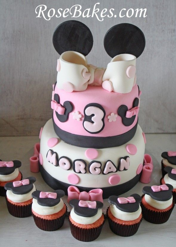 Mickey and Minnie Mouse Birthday Cakes Cupcakes for Boy Girl