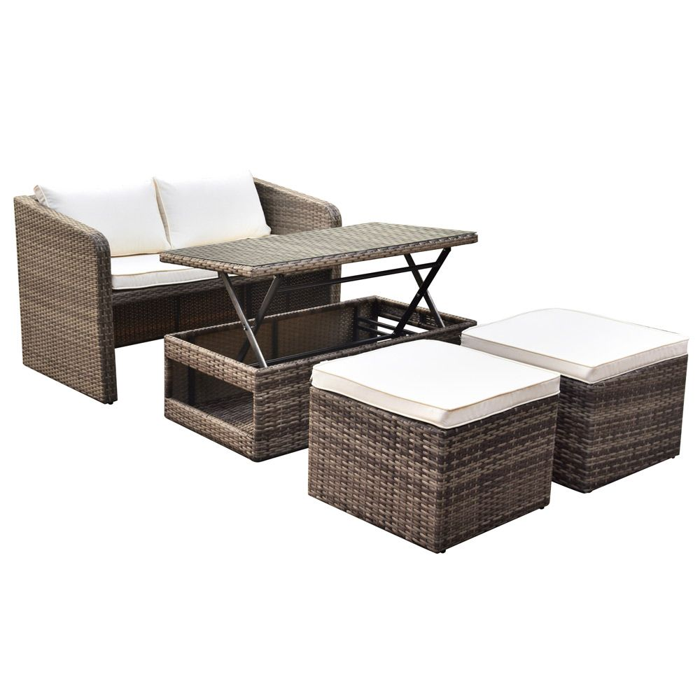 Excellent Luxo Nevis 4 Seater Pe Wicker Outdoor Furniture Set Brown Home Remodeling Inspirations Genioncuboardxyz