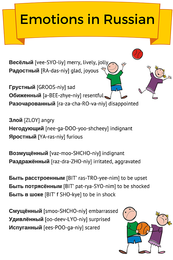 Emotions In Russian Learn To Speak English Lessons Language