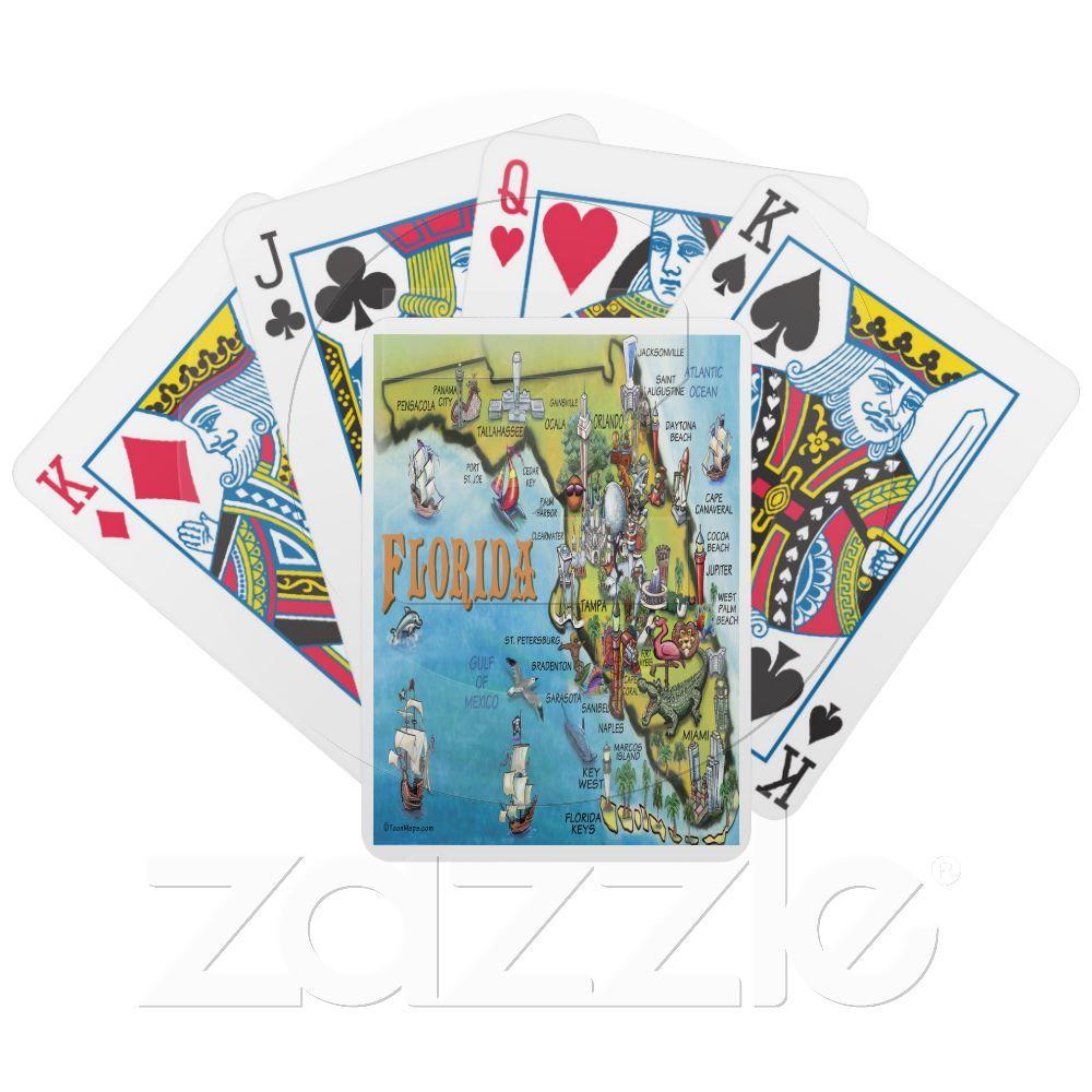 florida cartoon map bicycle playing cards  zazzle