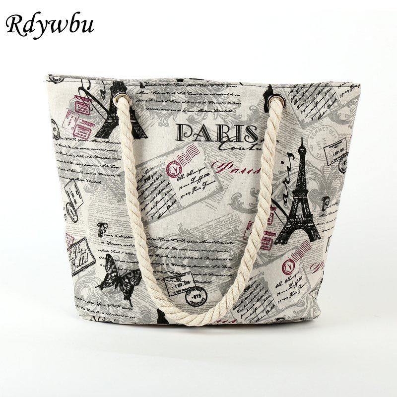Rdywbu 2017 Paris Tower Shell Printing Canvas Beach Shoulder Bag Women S Creative Rope Ping