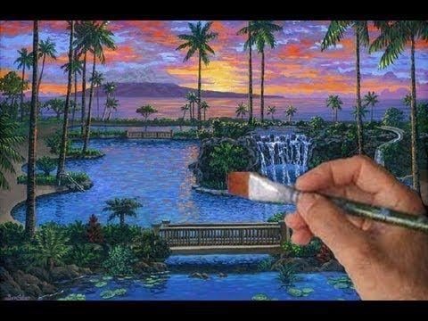 Captivant Comment Peindre Piscine Cours Complet Chute Du0027eau Paysage Tropical Acryl. Inspirations De Conception