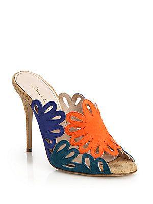Oscar de la Renta Jelia Multicolor Suede Mule Sandals