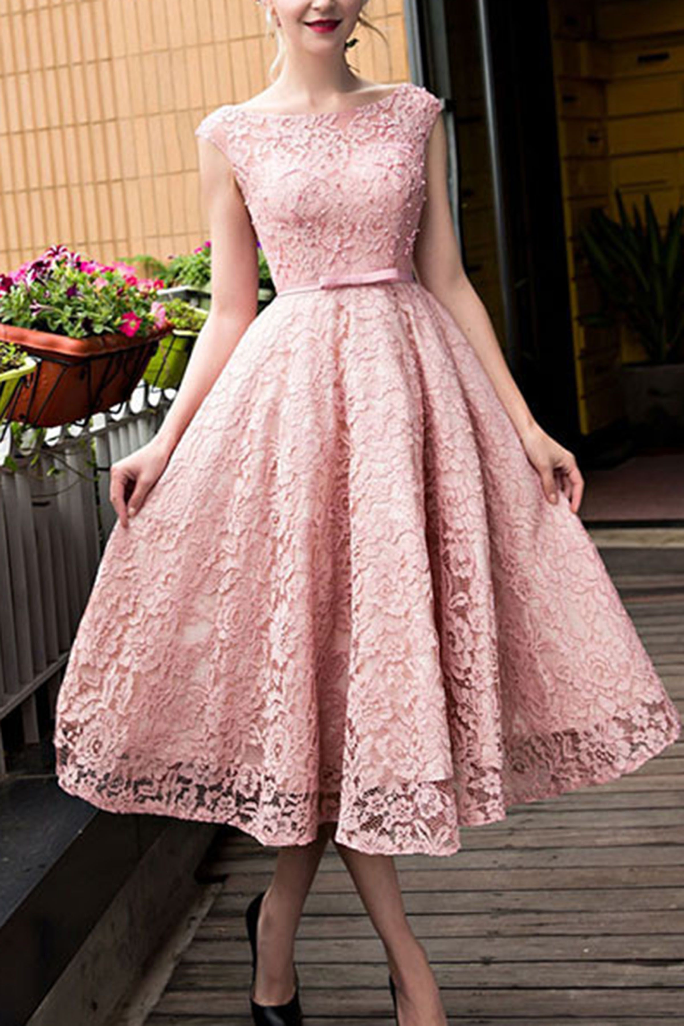 pink lace round neck aline kneelength formal dresses