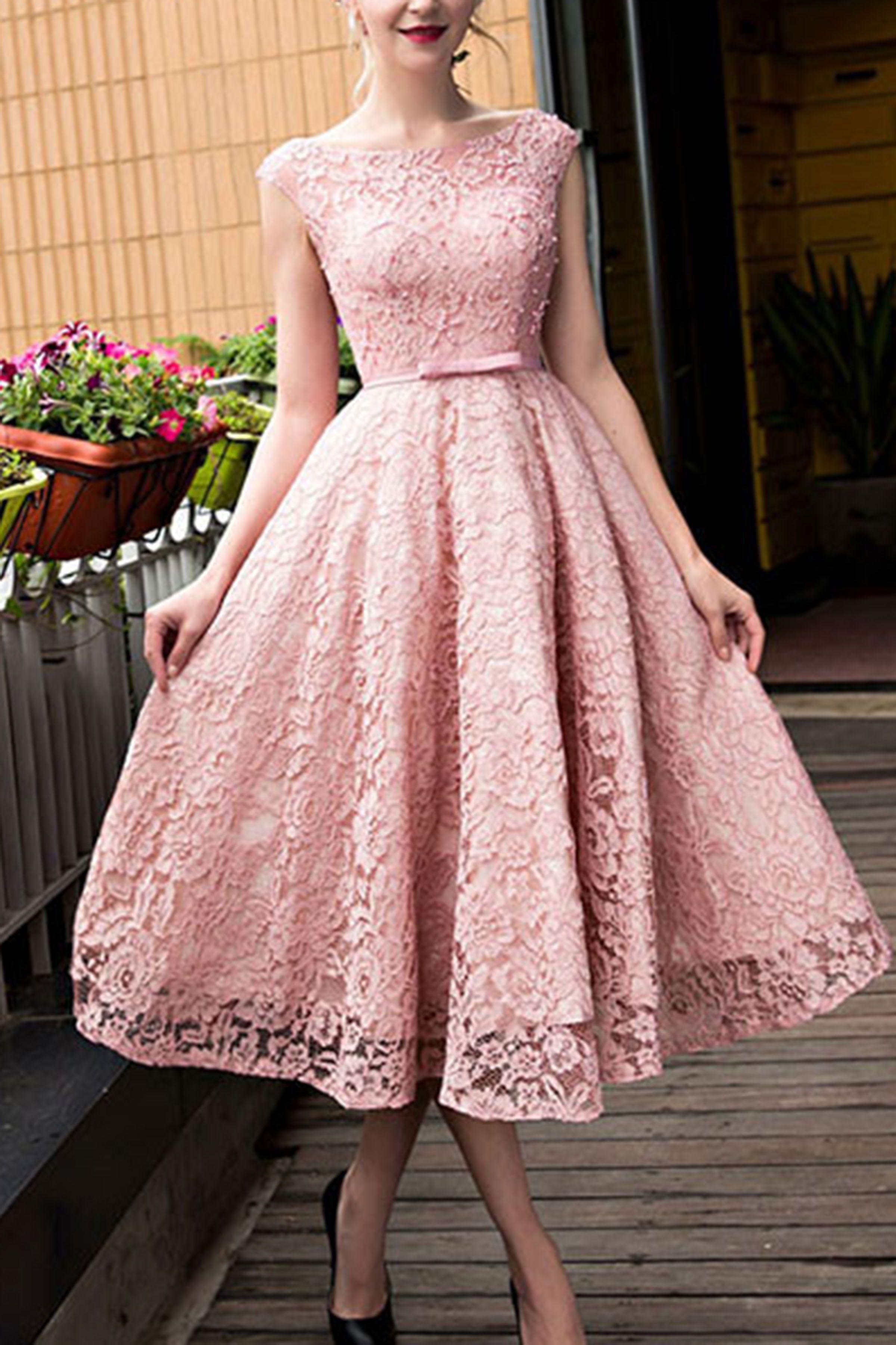 Cute short wedding dresses  Lace prom dress fashion prom dress cute pink lace short prom dress