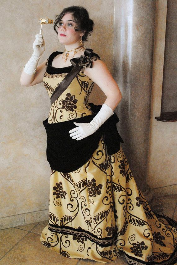 CUSTOM Victorian Bustle 1890s Steampunk Opera Evening Ball gown with ...