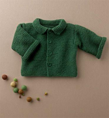 Modèle gilet bébé au point mousse - Catalogue Layette débutantes 64 ...