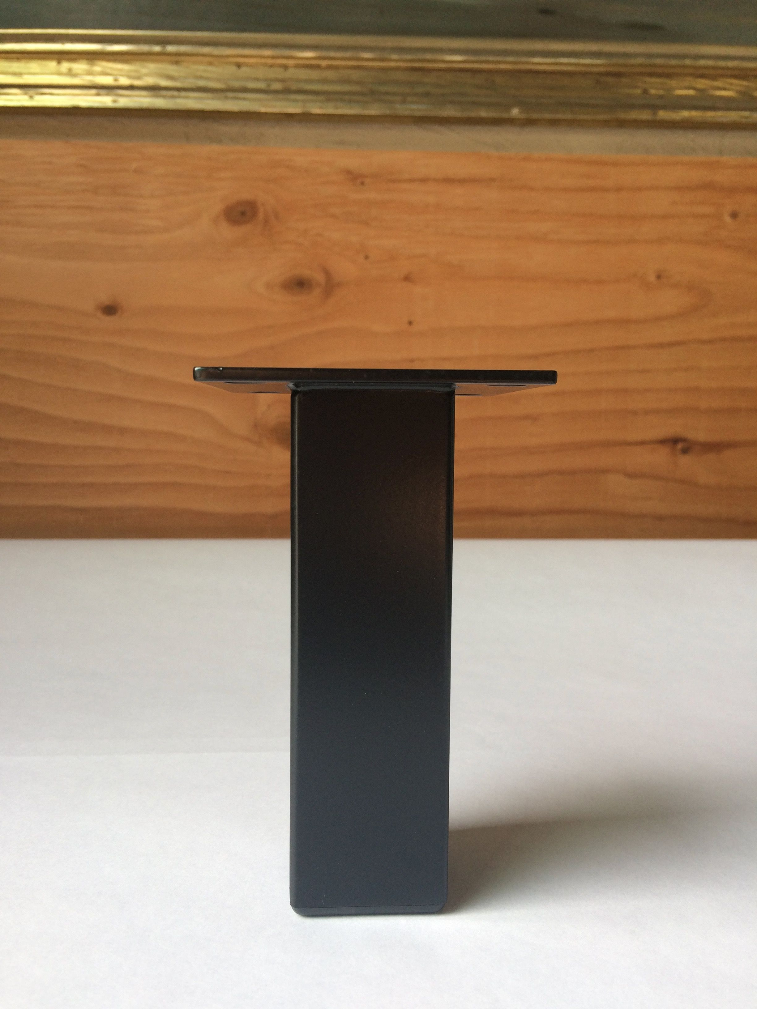 1 1 2 square powder coated matte black furniture leg custom made by ferrous hardware