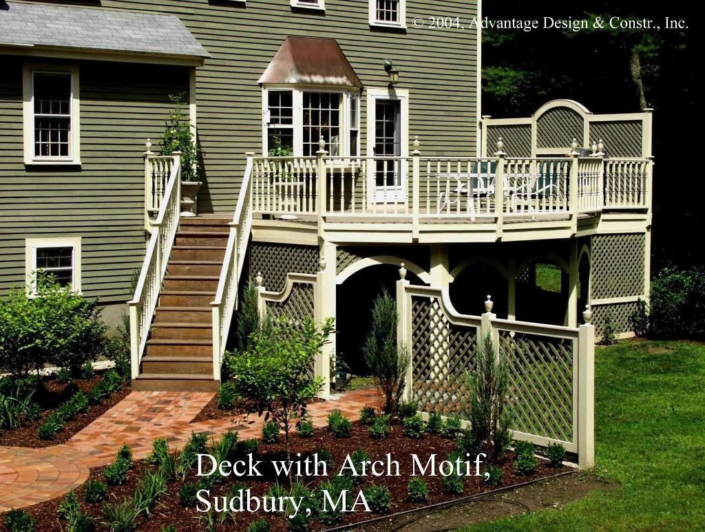 This tall deck has rails with turned balusters and finial post this tall deck has rails with turned balusters and finial post caps the arch motif decking ideasgarden fencesgarden baanklon Choice Image