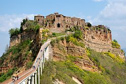 Civitca Di Bagnoregio Italy 80 Miles North Of Rome Can Only Be