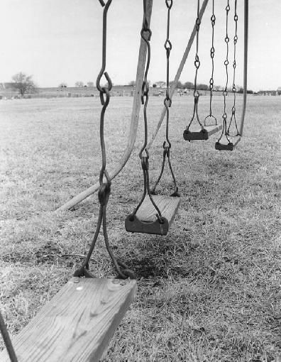 Old Playground Swings - my elementary school in the 1950s in Ohio had this type of swing with wooden seats...not the ones with the wide rubber strap shaped like a U.