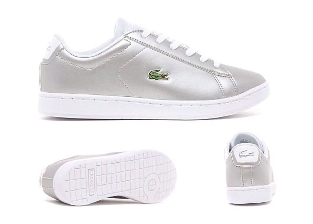 74d0204b8 Lacoste Junior Girls Light Grey Carnaby EVO Trainers Brand New Boxed free  deliv