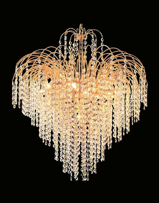 24 K Gold Plated Fountain Crystal Chandelier Crystal Chandelier