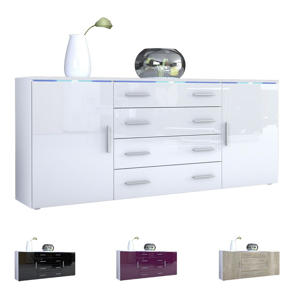 High Gloss Storage Cabinets Modern Sideboard Buffet Server Storage Cabinet Chest Faro V2 White