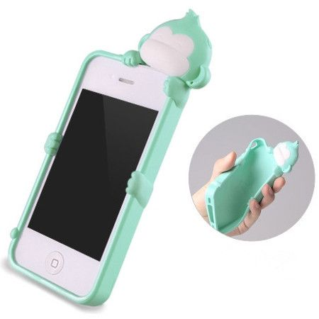 Cute Mint Green Monkey Silicone case cover for iphone 4 4S 4G ...