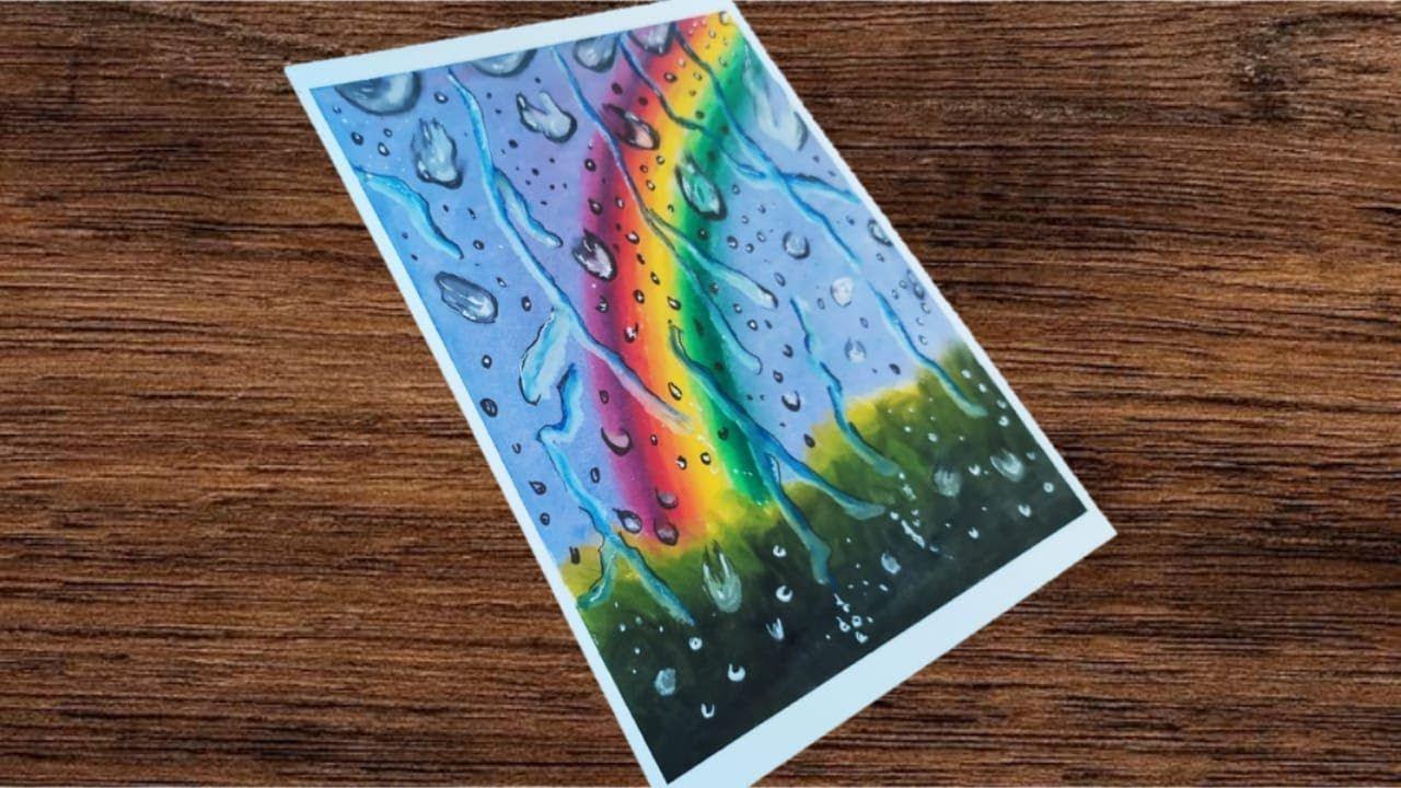 Oil Pastel Drawing 64 Cara Menggambar Pemandangan Pelangi Hujan Dis Cara Menggambar Drawing Gambar