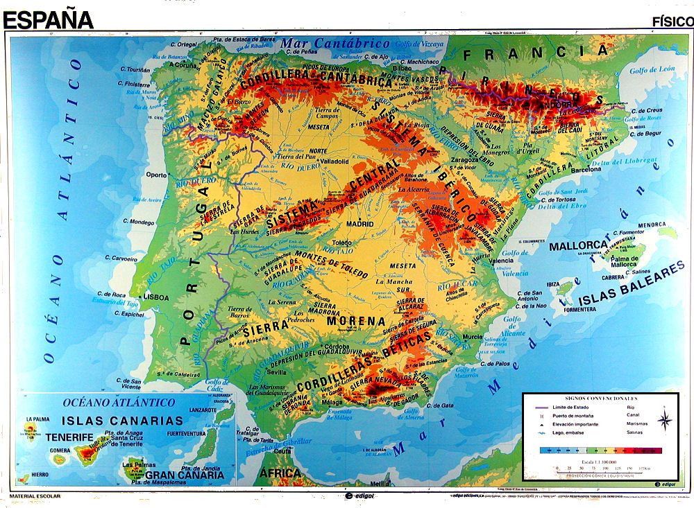 Relief map of spain geologist 1997 thematic environmental mgmt relief map of spain geologist 1997 thematic environmental mgmt instrument and visualization gumiabroncs Image collections