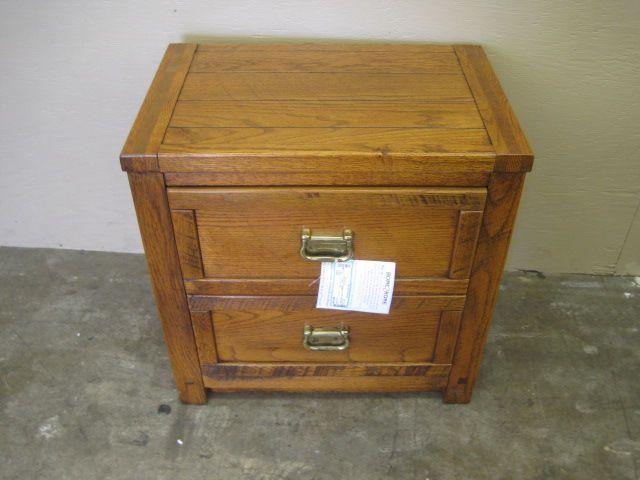 . 25 x 17 x 27 Solid dark oak nightstand  Has 2 drawers w  brass