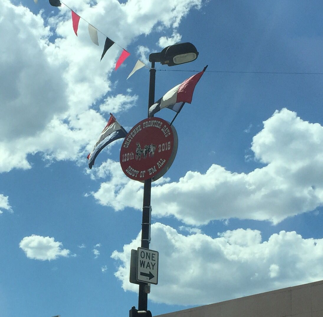 Street sign. A week away from Cheyenne Frontier Days.