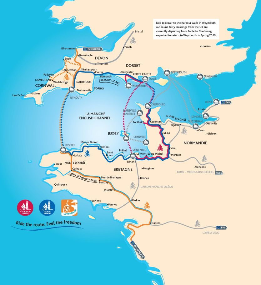 Three new cycling routes connecting Brittany Normandy and the South