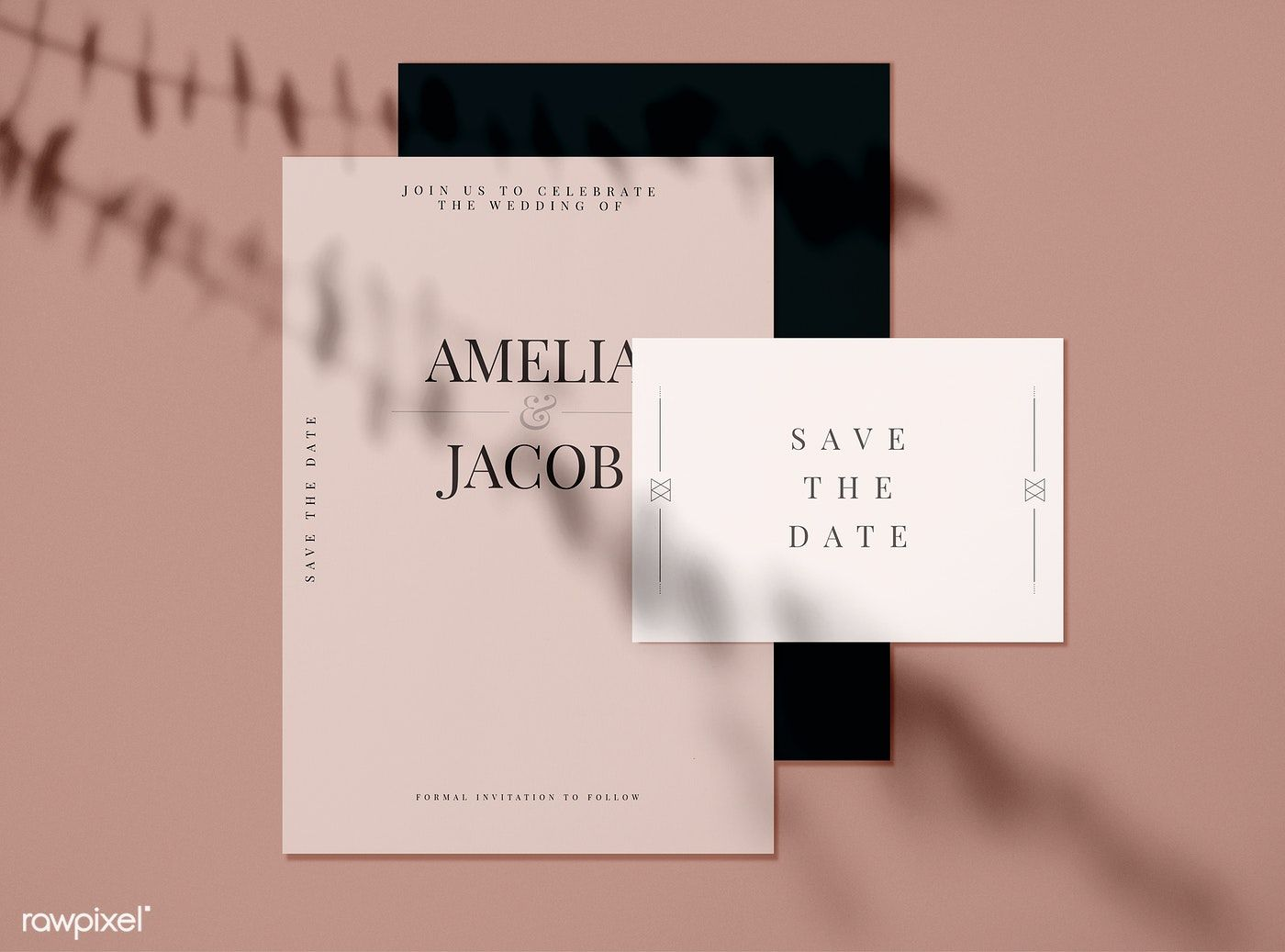 Save The Date Wedding Invitation Card Mockups Free Image By