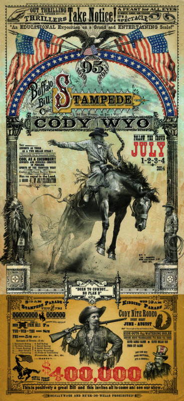 Cody Wyoming Buffalo Bill Stampede Rodeo Western Poster By