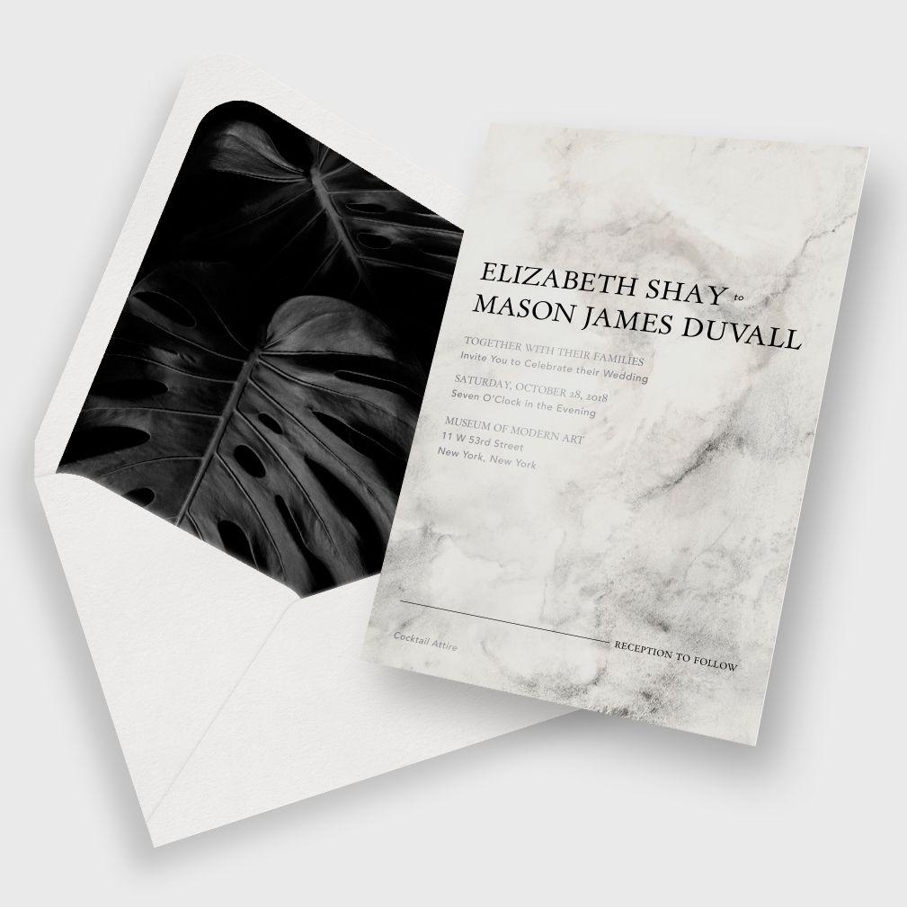 Modern Tropical Wedding Invitation / Black + Neutral Color Palette ...