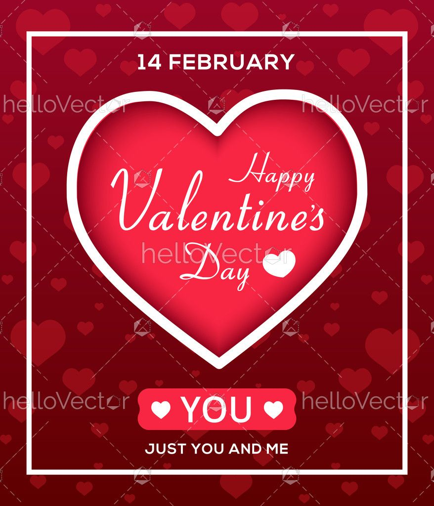Valentine S Day Card Template Vector Illustration Download Graphics Vectors Valentines Day Card Templates Card Template Vector Illustration