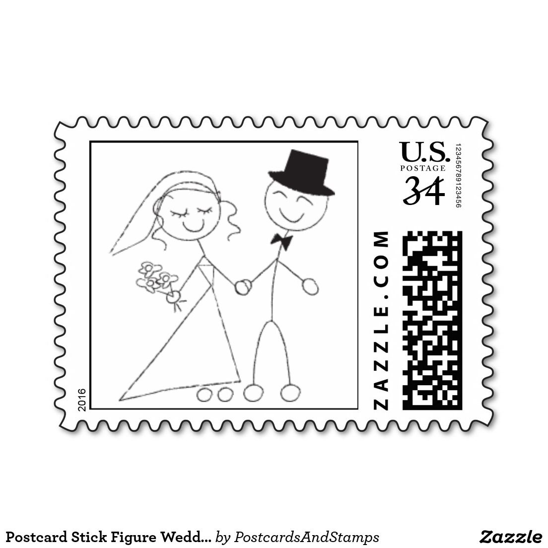 Postcard Stick Figure Wedding Rsvp Invite Postage