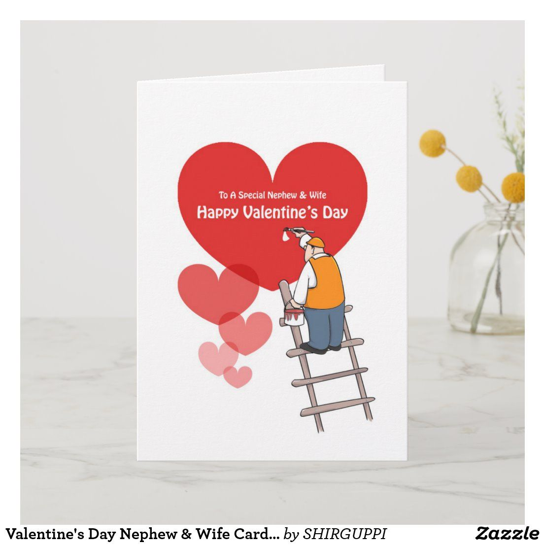 Valentine S Day Nephew Wife Cards Red Hearts Holiday Card Zazzle Com Funniest Valentines Cards Valentines Day Cartoons Holiday Design Card