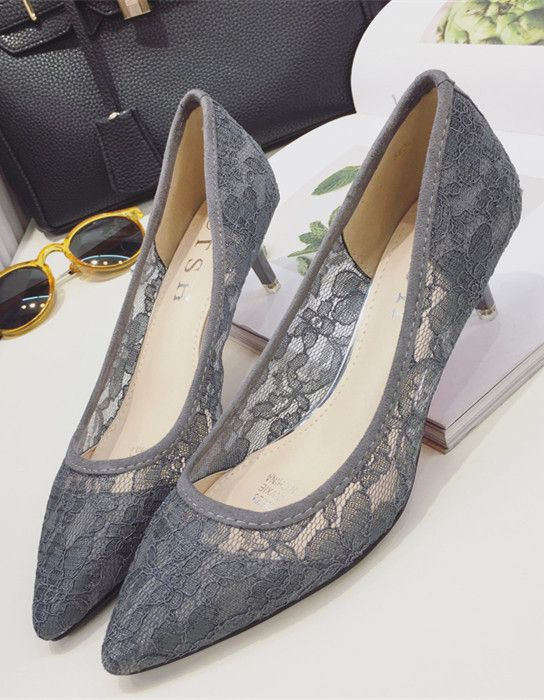 Low Heels Grey Lace Wedding Shoes Gray Women Bridal Heels Grey