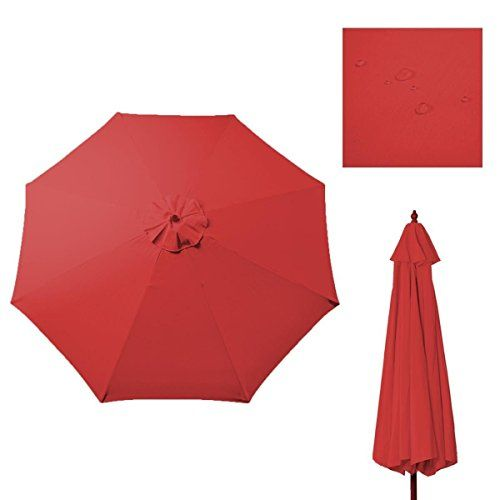 9Ft 8 Rib Patio Umbrella Cover Canopy Replacement Top Outdoor Tan Red **  Details Can