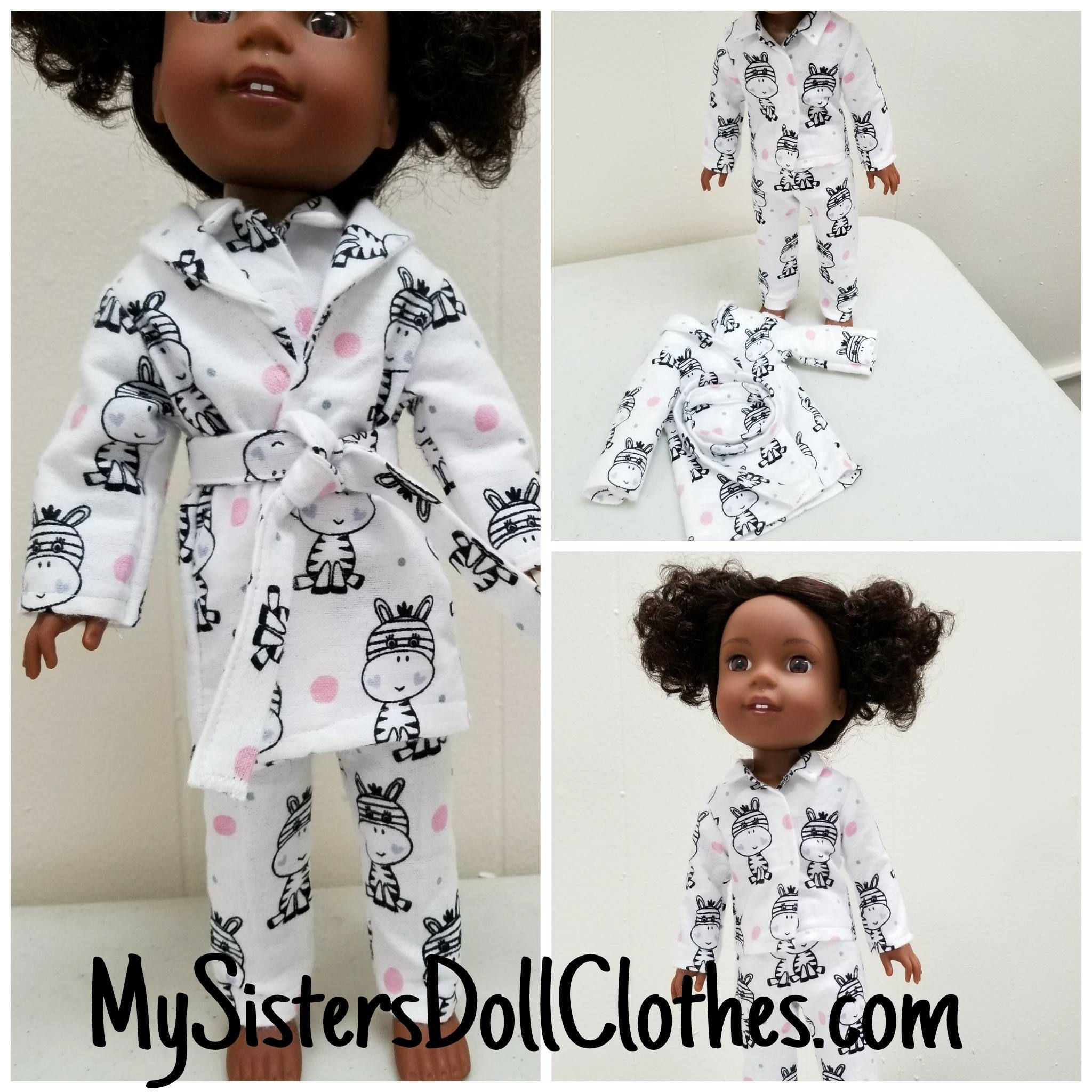 "Adorable Zebra Pajamas Fits AG Wellie Wisher /& Glitter Girl Dolls 14.5/"" dolls"