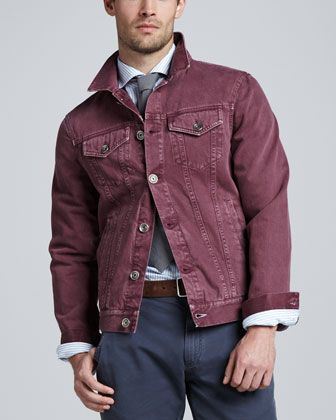 Brunello Cucinelli Denim Jacket Cherry Bergdorf Goodman Colored