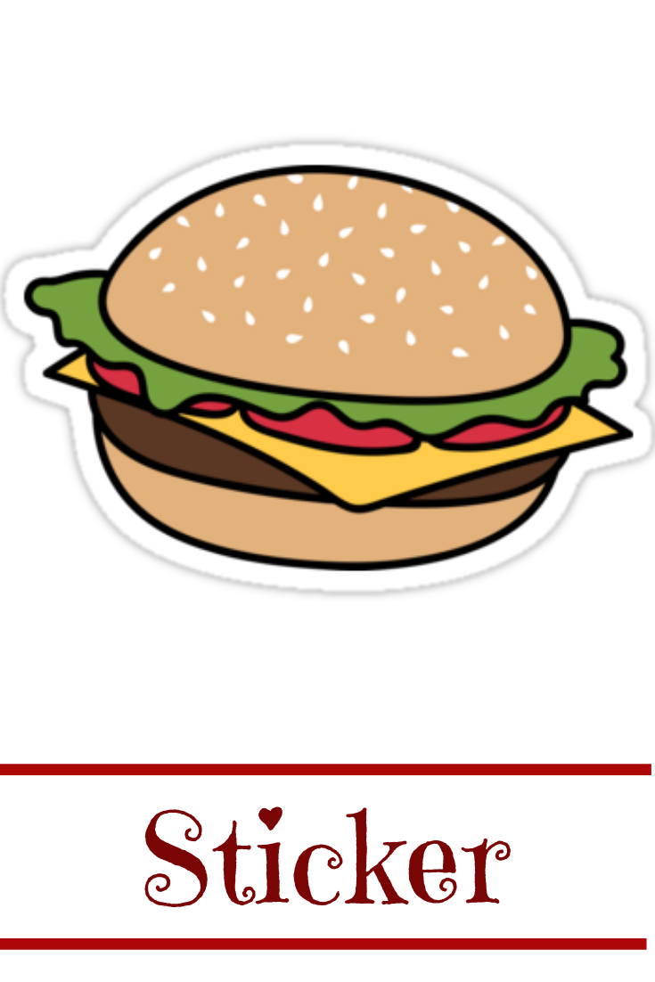 Glossy Laptop Waterbottle Sticker Hamburger