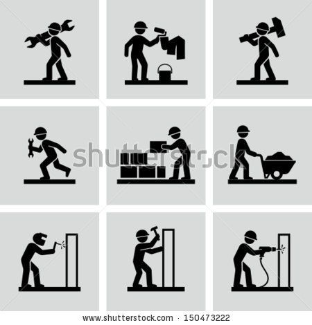 Stock Images Similar To Id 83159008 Man People Working Construction Exercices De Dessin Dessin Simple Dessin Maman