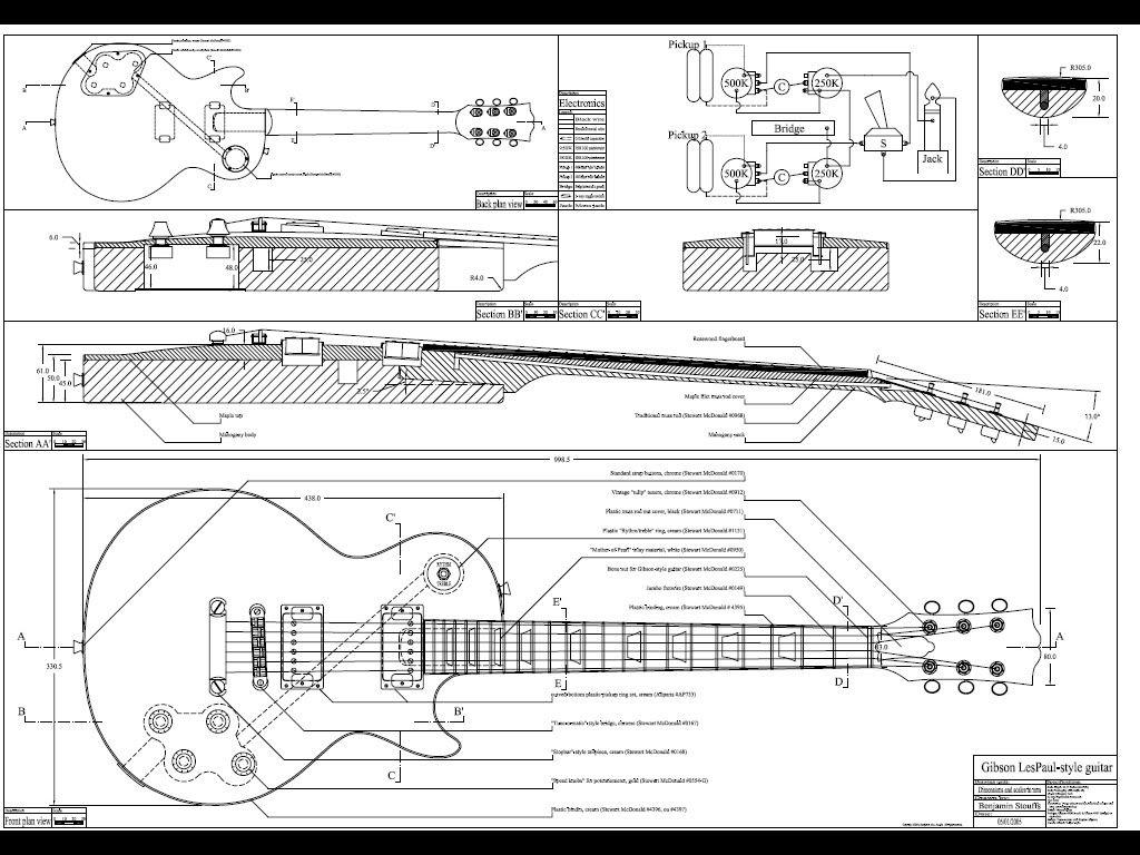 Les Paul Guitar Blue Prints